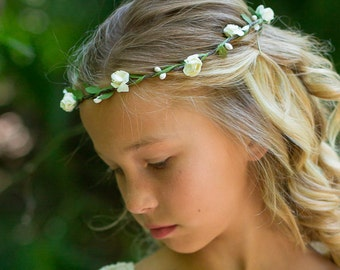 Flower Girl Hobo Headband, Ivory or White Floral Headband, Halo, Flower Crown, Baby- Adult Headband, Wedding Headband, Hair Accessory