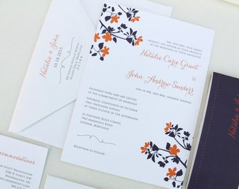 Wedding Invitation, Fall Wedding Invitation Suite, Purple and Orange Wedding, Belly Band, Linen Invitations, Autumn Wedding Invitation