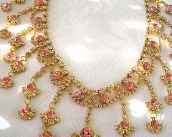Pink Rhinestone Necklace, Bridal Necklace, Great Gatsby, Art Deco, Rhinestone Collar, Vintage Bridal, Pink Wedding, Mother of the Bride