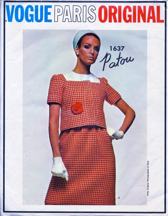 1960's VOGUE Paris Original  Pattern 1637 by Designer: Patou - High Waisted Skirt and Camisole Top & Jacket * size 10   * UNCUT