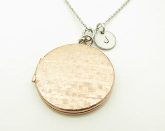 Locket Necklace, Rose Gold Brass Locket Necklace, Two Tone Necklace, Personalized, Initial Necklace, Keepsake Locket, Stainless Steel Y311