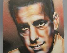 Hollywood Classic Art of Humphrey Bogart, Air Brush Painting Hollywood Art, Humphrey Bogart Hollywood Actor, Classic Hollywood 1950's