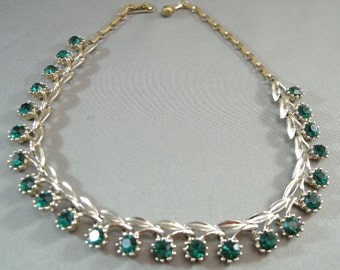 1950s Emerald Green Glass Necklace,Mid Century Rhinestone Green Necklaces, Mad Men period Jewelry, Designer Style Necklace, 1950's Style