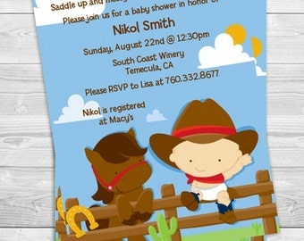 little western cowboy baby shower invitation printed or diy printable pdf