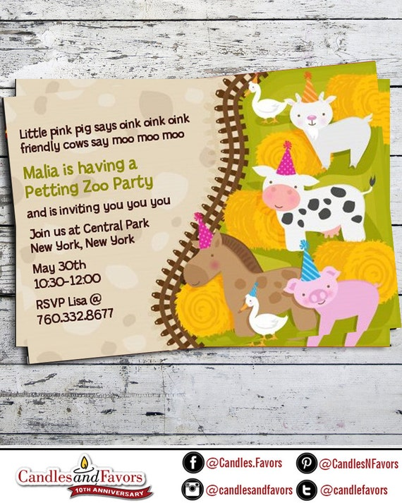 Petting zoo birthday party invitation professionally printed or il570xn filmwisefo