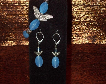 Faceted Blue Czech Glass Stretch Butterfly Bracelet With Matching Earrings