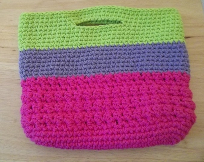 Purse - City Purse - Crochet - Pink and Ligth Purple and Brigth Green
