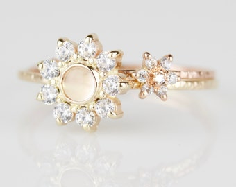 Select Center Stone - Set of Two White Diamond Halo Flower Rings - Delicate Solid 14k Gold Rings - 14k Rose or White or Yellow Gold Ring