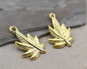 Gold Leaf Charm, 15 pcs, Gold Charms, 20mm, Hemp Leaf Pendant - C245