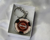 Harley Davidson Keychain made from collector poker chip