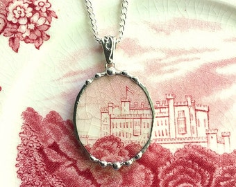Broken china jewelry, Recycled china pendant necklace Antique English castle transferware, broken china necklace