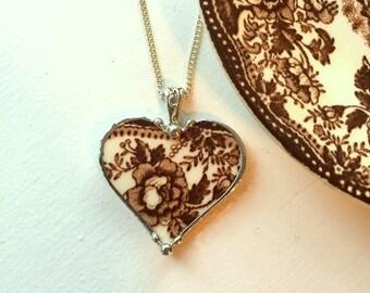 Broken china jewelry brown toile English Transferware broken china jewelry heart pendant necklace