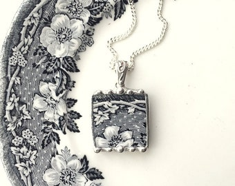 Black and white floral toile transferware broken china jewelry pendant necklace