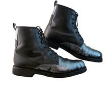 Combat Boots Men Cole Haan // Size 10 1/2 D // All Leather w Vibram Sole // Pewter and Black // Punk Grunge Rock n Roll Chic Hand Painted