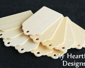 SCALLOPED Wooden Gift Tags (Lot of 12) Wedding / Holiday Name Tags, DIY Unfinished Wood [Blank labels / ornaments]