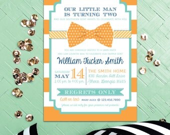 Dapper Dude Bow Tie Boy Baby Shower Invitation Orange and Aqua Stripes First Birthday Invites Tool Party Southern Bowtie Invitations