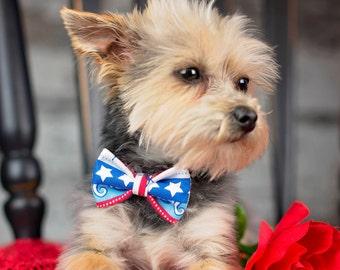 Nautical Stripe Dog Bow Tie - Cat Bow - Blue Hair Clip - Red Self Tie Bowtie