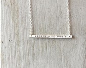 Custom Sterling Silver Bar Necklace Thin Bar Necklace Coordinates Longitude Latitude Necklace