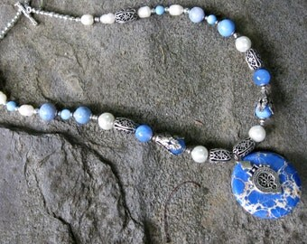blue magnesite and silver antique-looking necklace