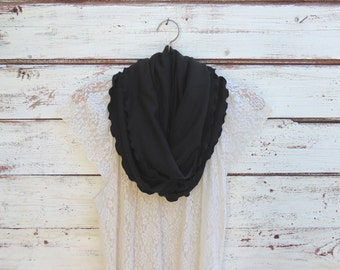 Black Scarf, Black Infinity Scarf, Circle Scarf, Winter Scarf, Cowl, Women Scarves, Jersey Scarf, Jannysgirl, Gift Idea for Her