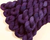 Mini Skeins - Hand Dyed Sock Yarn - Sock Weight 4-Ply Superwash Merino Wool Yarn - Blackberry Tonal - Knitting Yarn, Purple Fingering Yarn