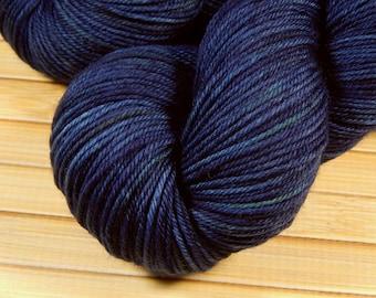 Hand Dyed Yarn - Sport Weight Superwash Merino Wool Yarn - Ink Tonal - Knitting Yarn, Sock Yarn, Wool Yarn, Tonal Yarn, Dark Blue, Yarn Gift