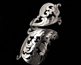Sterling Silver Adjustable Long Wrap Ring - Ornate Rococo Scrolls Flourish - BAROQUE SOIREE
