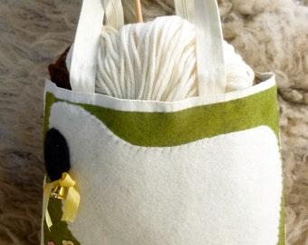 Sheep tote bag canvas bag with wool sheep design