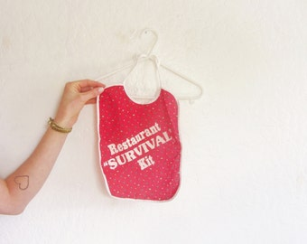 kitsch retro baby bib . restaurant survival kit . boy girl toddler .sale s a l e