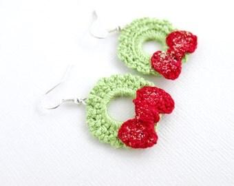 Crochet Wreath Earrings - Green Red Wreath Crochet Earrings - Glitter Wreath - December Jewelry Winter Jewelry Christmas Earrings