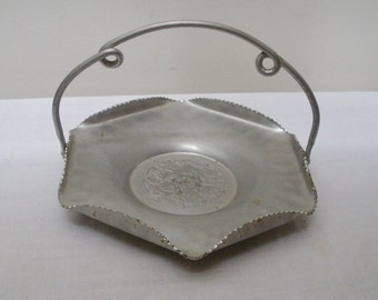Vintage Hammered Aluminum Swing Handle Basket