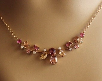 Imperial Topaz Necklace, Rose Spinel, Rose Pink Tourmaline, Diamond Necklace/Appraisal Included