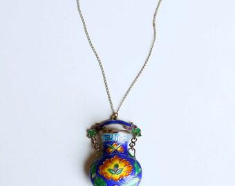 1960s Chinese enamel snuff bottle cloisonné pendant / 60s vintage cobalt blue and orange enamel vase gold filled necklace China handmade