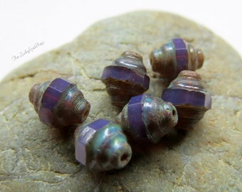 NEW LAVENDAR Opal LANTERNS .  Czech Picasso Glass Beads . 7 by 8 mm (10 beads)
