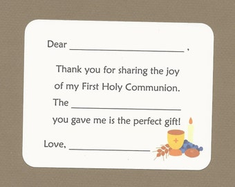 First Holy Communion - Fill in the Blanks Thank You Notes - Bread, Wine, Grapes, Grain, Chalice and Candle