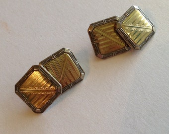 Antique Art Deco Cuff Links Silver Gold Etched Shamrock Horseshoe Makers Mark