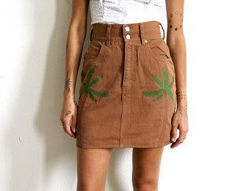 Palm Tree Skirt / High Waisted Denim Skirt / Brown Skirt Sz S 27