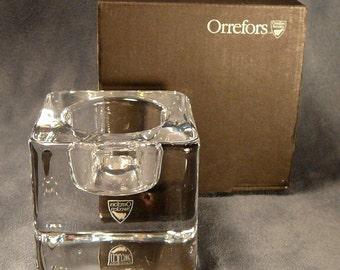 Orrefors Ice Cube Candle Holder in Box Goran Warff