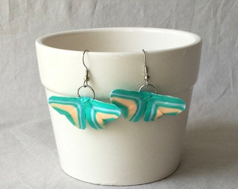 Teal Striped Origami Butterfly Earrings~Butterfly Jewelry~Birthday Gift~Butterfly Lover~Mother's Day Gift~Stocking Stuffers~Gifts for her