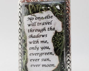 No one else will travel through the shadows, ever green, Quote Locket, Faux Stone Heart Terrarium Necklace, Love Quote, Pablo Neruda
