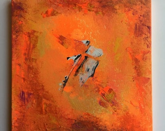 11.5 x 11.5 inches Abstract Art Acrylic Painting Canvas on board Ready to hang with hanger Contemporary Modern Paint