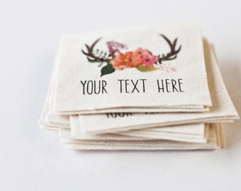 Floral Antlers Sewing Labels - woodland theme name tags on organic cotton