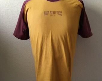 Vintage Men's 80's Nike, T Shirt, Mustard Yellow, Burgundy, Cotton, Short Sleeve (M)