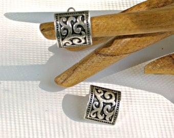 Embossed Clip Earrings Vintage Jewelry 60s Antiqued Silvertone