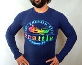 Vintage 1980s 1984 Seattle Sweatshirt Hoodie - Give Peace a Dance