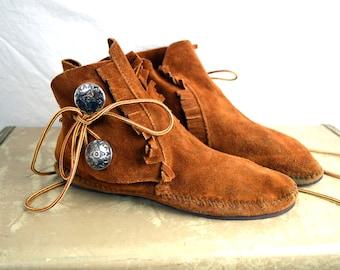 Vintage Moccasins Suede Fringe Booties Mocs Shoes