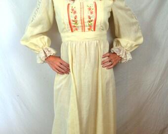 Vintage 1970s Boho Summer Hippie Prairie Costume Maxi Dress