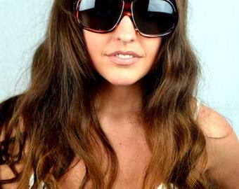 Vintage 1960s Italy Oversized Aviators Sunglasses Glasses