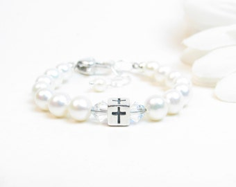 Baptism Christening Dedication Communion Confirmation Bracelet with Freshwater Pearls