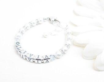 Baby Name Bracelet // Baby Bracelet // Little Girl Name Bracelet // Beaded Name Bracelet // Baptism Bracelet // Baby Girl Bracelet // Name